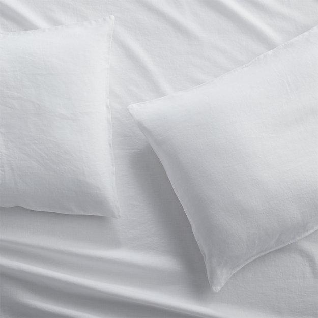Set of 2 Lino II White Linen King Pillow Cases