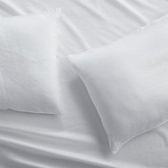 Set of 2 Lino II White Linen Standard Pillow Cases