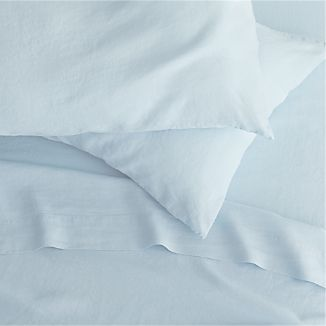 Lino Light Blue Linen Sheets and Pillow Cases