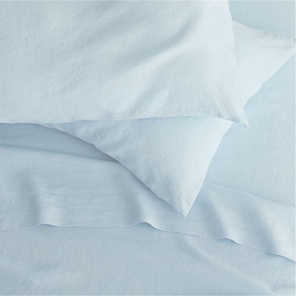 Lino Light Blue Linen King Fitted Sheet