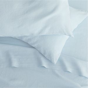 Lino Light Blue Linen Queen Fitted Sheet