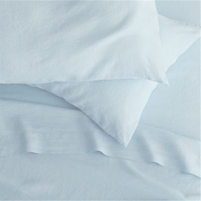 Lino Light Blue Linen King Flat Sheet