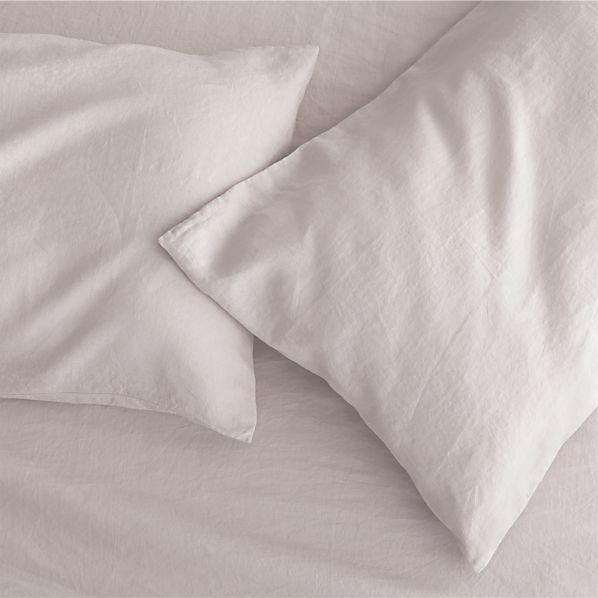Set of 2 Lino Light Grey Linen Standard Pillow Cases