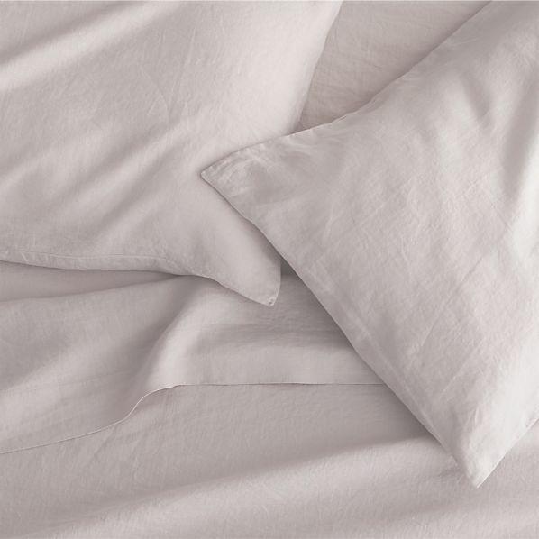 Lino Light Grey Linen Queen Flat Sheet