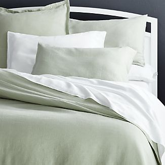 Lino II Sage Green Linen Duvet Covers and Pillow Shams