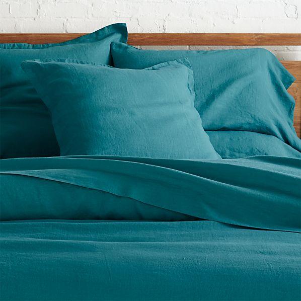 Lino Teal Linen Full/Queen Duvet Cover