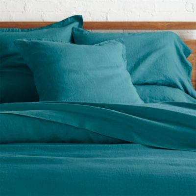 Lino Teal Linen Full/Queen Duvet Cover