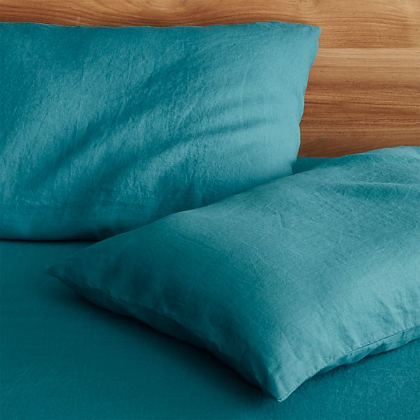 Set of 2 Lino Teal Linen Standard Pillow Cases
