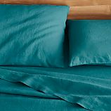 Lino Teal Linen Queen Fitted Sheet