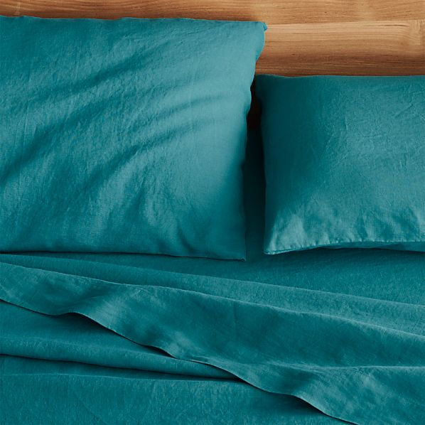 Lino Teal Linen Full Flat Sheet
