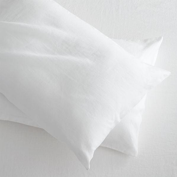Set of 2 Lino White Linen Standard Pillow Cases