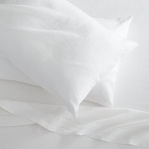 Lino White Linen Queen Flat Sheet