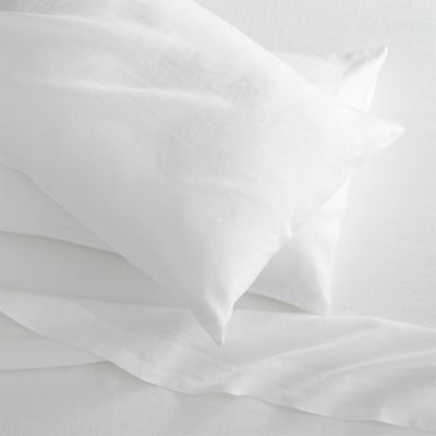 Lino White Linen Full Fitted Sheet