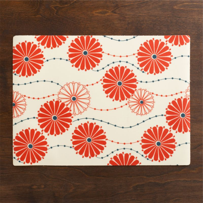 Traditional Japanese floral pattern blooms bright and contemporary in blue and orange, trailing solid and outlined mums on delicate stems.<br /><br /><NEWTAG/><ul><li>100% cotton on PVC</li><li>Wipe with damp cloth</li><li>Made in USA and India</li></ul>