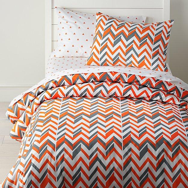 Little Prints Orange Full Queen Zig Zag Duvet Cover