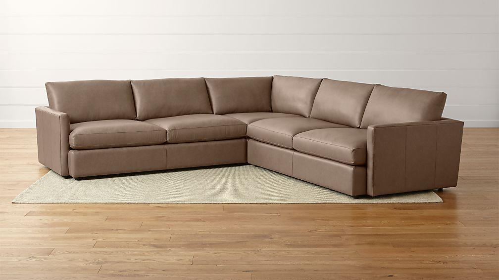 ii leather 3 piece sectional sofa lavista smoke crate and barrel
