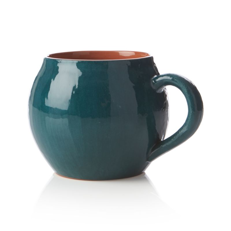 Cozy up with our lodge-worthy terracotta mugs, wonderfully rounded and glazed glossy in deep teal.<br /><br /><NEWTAG/><ul><li>Terracotta</li><li>Dishwasher-, microwave- and oven-safe to 250 degrees</li><li>Made in Portugal</li></ul>