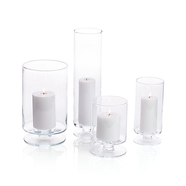 London Glass Hurricane Candle Holders