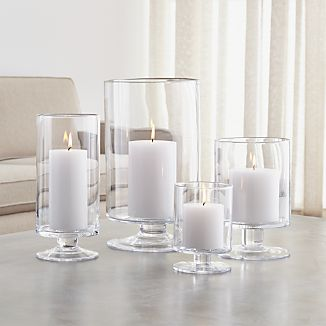 London Glass Hurricane Candle Holders