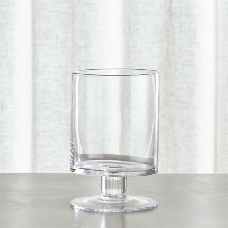 london short glass hurricane candle holder