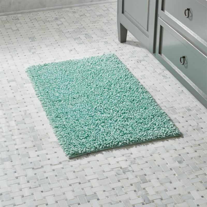 Crate And Barrel Bath Rugs: Loop Seafoam Green Bath Rug