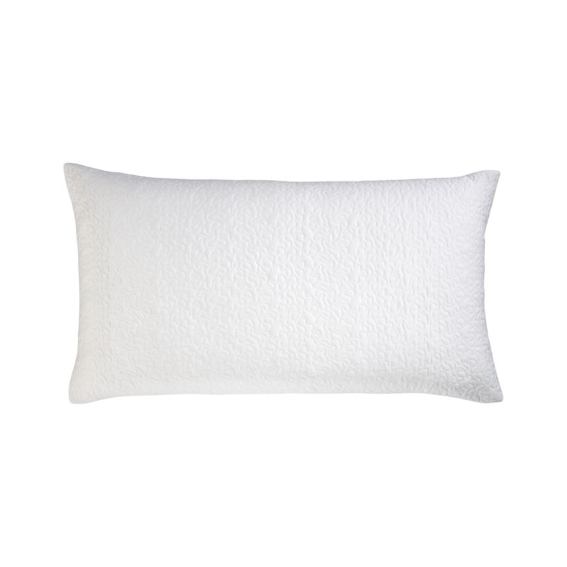 Our 300-thread-count linens comfort in a great three-season or layering weight. Textural shams in a freeform quilted pattern reverse from cotton sateen to percale; shams have overlapping back closures. Bed pillows also available.<br /><br /><NEWTAG/><ul><li>100% cotton percale and cotton sateen</li><li>300-thread-count</li><li>100% polyester fill</li><li>Machine wash</li><li>Made in India</li></ul>