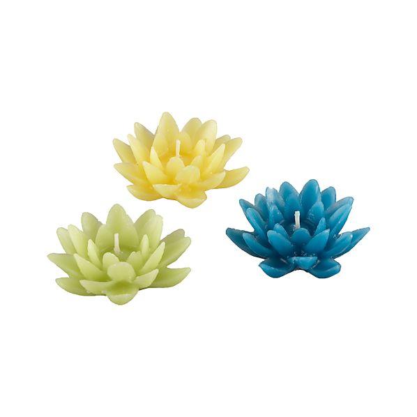 Set of 3 Lotus Floating Candles