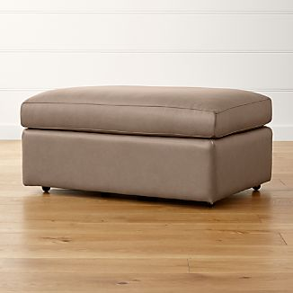 """Lounge II Leather 37"""" Ottoman with Casters"""