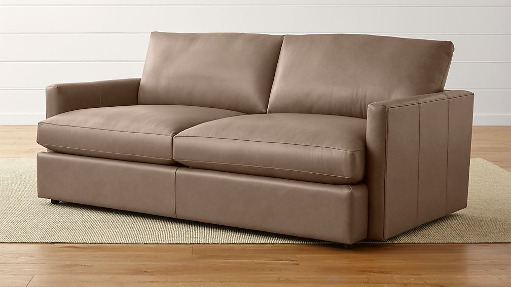 Lounge Ii Petite Leather 83 Sofa Lavista Smoke Crate