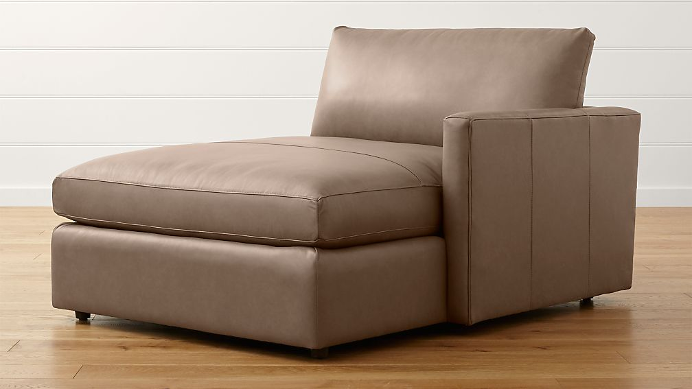 Lounge ii petite leather right arm chaise lounge lavista for 2 armed chaise lounge