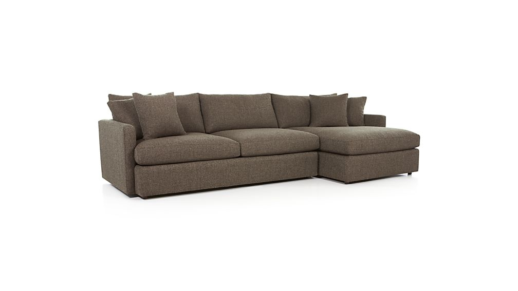 Lounge ii 2 piece right arm chaise sectional sofa crate for Couch with 2 chaise lounges