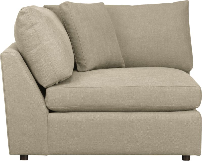 "Family-style informality shapes up with clean, modern lines in a luxe linen weave that's both practical and pampering. You can really curl up in Lounge's plush, roomy sectional pieces, combined just the way you want them. Includes a box throw pillow.<br /><br />Lounge <a href=""http://crateandbarrel.custhelp.com/cgi-bin/crateandbarrel.cfg/php/enduser/crate_answer.php?popup=-1&p_faqid=125&p_sid=DMUxFvPi"">slipcovers</a> available below and through stores featuring our Furniture Collection.<br /><br />After you place your order, we will send a fabric swatch via next day air for your final approval. We will contact you to verify both your receipt and approval of the fabric swatch before finalizing your order.<br /><br /><strong>Lounge Sectional Corner in Talbot:Linen is on sale; other colors/fabrics available at an additional cost.</strong><br /><br /><NEWTAG/><ul><li>Eco-friendly construction</li><li>Certified sustainable, kiln-dried hardwood frame</li><li>Seat cushions are multilayer soy- or plant-based polyfoam wrapped in fiber-down blend and encased in downproof ticking</li><li>Flexolator spring suspension</li><li>Back cushions are fiber-down blend wrapped in downproof ticking</li><li>Upholstery fabric is 92% polyester, 8% linen with self-welt detail</li><li>Benchmade</li><li>Made in North Carolina, USA of domestic and imported materials</li></ul>"
