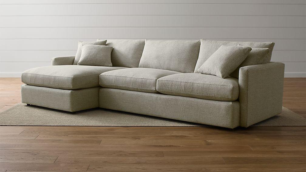 Lounge ii 2 piece sectional sofa taft cement crate and for Crate and barrel lounge 2 piece sectional sofa