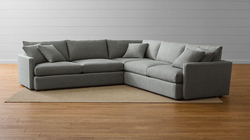 Lounge II 3-Piece Sectional Sofa Taft: Steel : Crate and Barrel