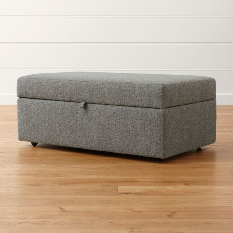 Lounge ii storage ottoman with tray taft steel crate for Crate and barrel pouf