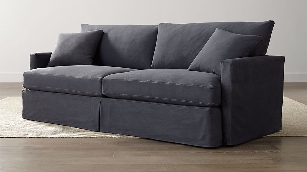 Lounge Ii Petite Denim Couch Crate And Barrel