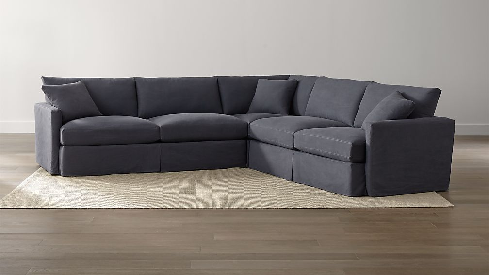 sectional twilight with contrast saddle stiching crate and barrel