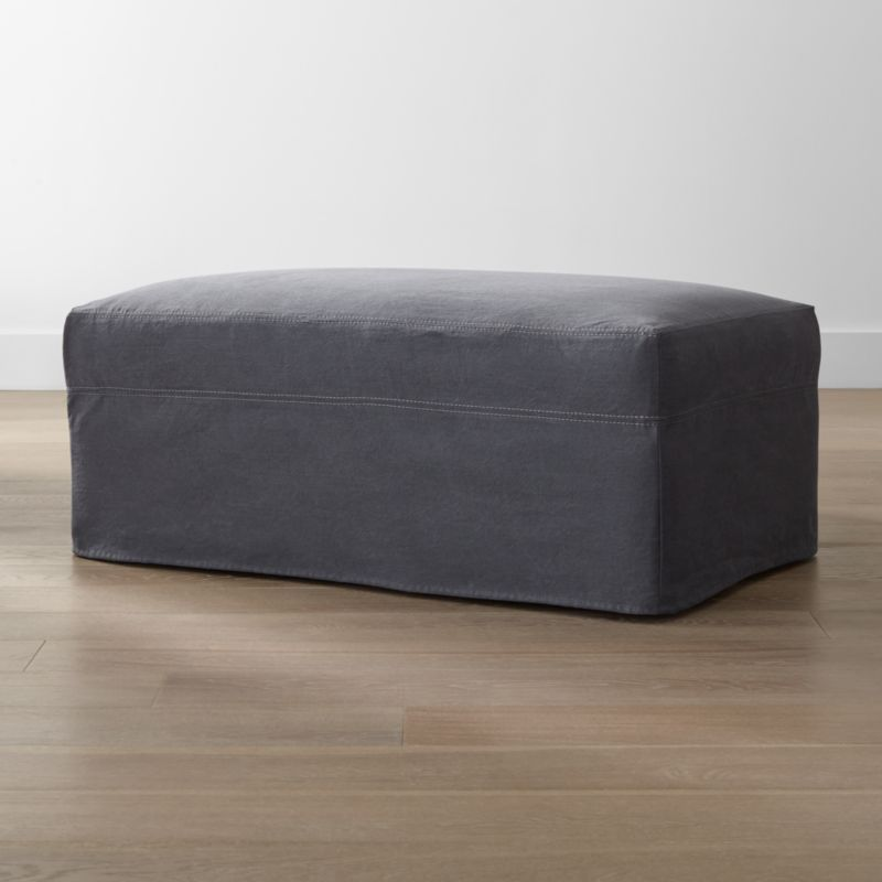Lounge ii petite slipcovered ottoman and a half denim for Crate and barrel pouf