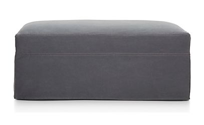 Lounge Ii Petite Slipcovered Ottoman And A Half Denim