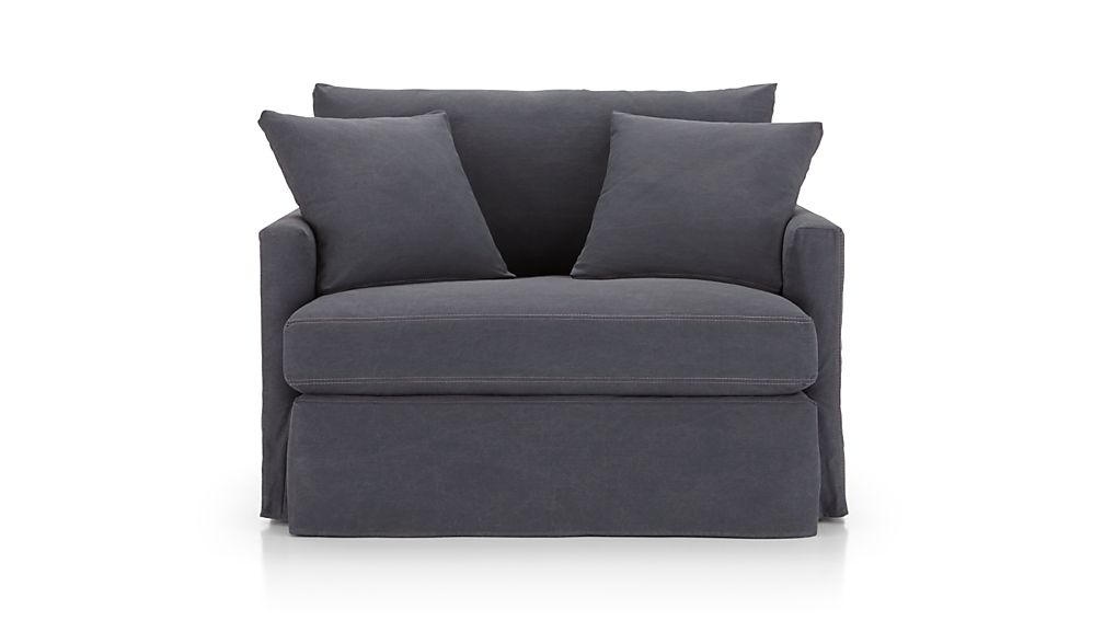 Lounge II Petite Slipcovered Chair and a Half Denim Twilight with Contrast S