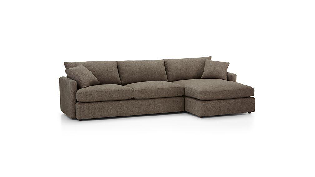 lounge ii petite 2 piece sectional sofa truffle crate and barrel
