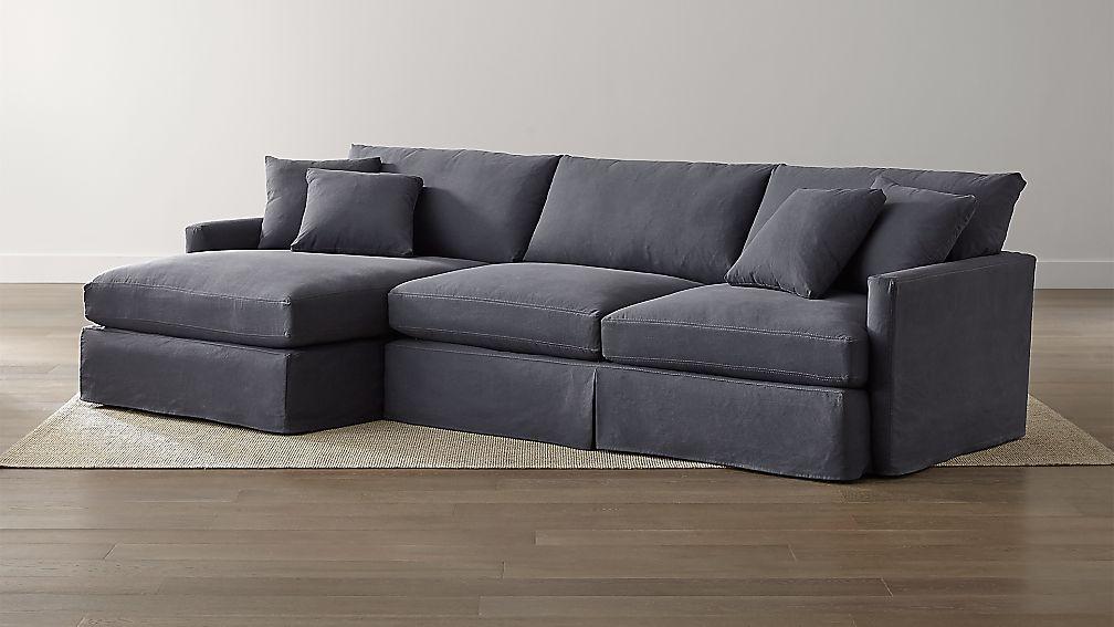 Lounge Ii Slipcovered 2 Piece Sectional Sofa Denim