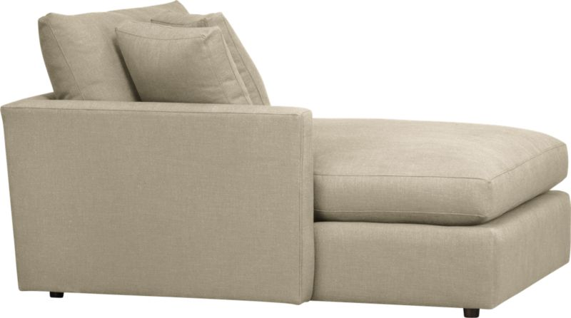 """Family-style informality shapes up with clean, modern lines in a luxe linen weave that's both practical and pampering. You can really curl up in Lounge's plush, roomy sectional pieces, combined just the way you want them.<br /><br />Lounge <a href=""""http://crateandbarrel.custhelp.com/cgi-bin/crateandbarrel.cfg/php/enduser/crate_answer.php?popup=-1&p_faqid=125&p_sid=DMUxFvPi"""">slipcovers</a> available below and through stores featuring our Furniture Collection.<br /><br />After you place your order, we will send a fabric swatch via next day air for your final approval. We will contact you to verify both your receipt and approval of the fabric swatch before finalizing your order.<br /><br /><NEWTAG/><ul><li>Eco-friendly construction</li><li>Certified sustainable, kiln-dried hardwood frame</li><li>Seat cushions are multilayer soy- or plant-based polyfoam wrapped in fiber-down blend and encased in downproof ticking</li><li>Flexolator spring suspension</li><li>Back cushions are fiber-down blend wrapped in downproof ticking</li><li>Upholstery fabric is 92% polyester, 8% linen with self-welt detail</li><li>Benchmade</li><li>Made in North Carolina, USA of domestic and imported materials</li></ul>"""