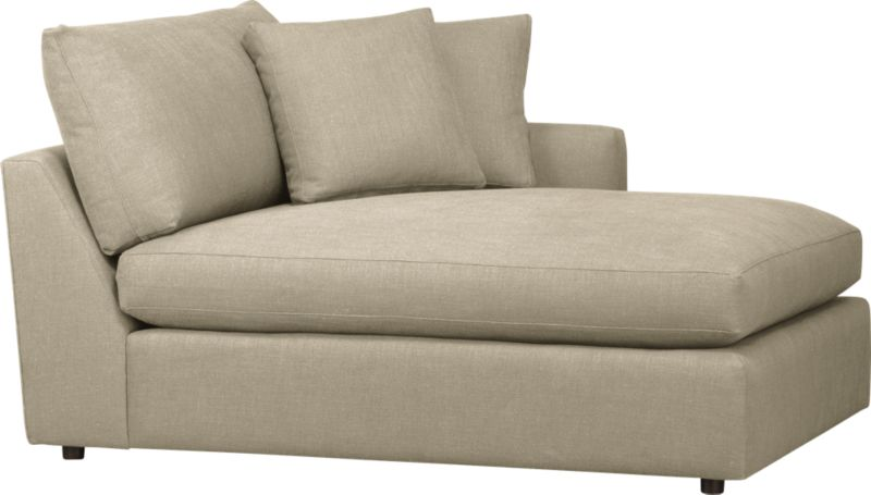 """Family-style informality shapes up with clean, modern lines in a luxe linen weave that's both practical and pampering. You can really curl up in Lounge's plush, roomy sectional pieces, combined just the way you want them. Chaise is complete with two modern box throw pillows.<br /><br />Lounge <a href=""""http://crateandbarrel.custhelp.com/cgi-bin/crateandbarrel.cfg/php/enduser/crate_answer.php?popup=-1&p_faqid=125&p_sid=DMUxFvPi"""">slipcovers</a> available below and through stores featuring our Furniture Collection.<br /><br />After you place your order, we will send a fabric swatch via next day air for your final approval. We will contact you to verify both your receipt and approval of the fabric swatch before finalizing your order.<br /><br /><strong>Lounge Right Arm Sectional Chaise in Talbot:Linen is on sale; other colors/fabrics available at an additional cost.</strong><br /><br /><NEWTAG/><ul><li>Eco-friendly construction</li><li>Certified sustainable, kiln-dried hardwood frame</li><li>Seat cushion is multilayer soy- or plant-based polyfoam wrapped in fiber-down blend and encased in downproof ticking</li><li>Flexolator spring suspension</li><li>Back cushion is fiber-down blend wrapped in downproof ticking</li><li>Upholstery fabric is 92% polyester, 8% linen with self-welt detail</li><li>Benchmade</li><li>Made in North Carolina, USA</li></ul>"""