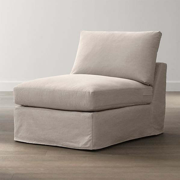 "Lounge Slipcovered 32"" Armless Chair"