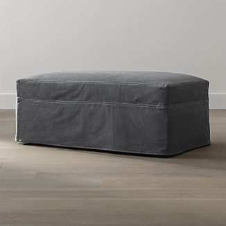 Lounge Slipcovered Ottoman and a Half with Casters