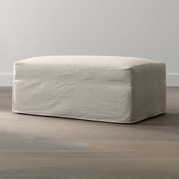 Lounge Slipcovered Storage Ottoman