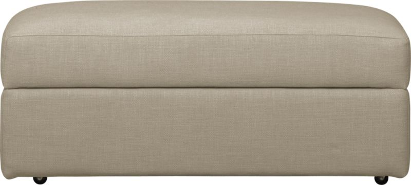 Family-style informality shapes up with clean, modern lines. Rectangular ottoman on casters fits neatly with coordinating Lounge collection piece. Lounge sectional also available.<br /><br />After you place your order, we will send a fabric swatch via next day air for your final approval. We will contact you to verify both your receipt and approval of the fabric swatch before finalizing your order.<br /><br /><NEWTAG/><ul><li>Eco-friendly construction</li><li>Certified sustainable, kiln-dried hardwood frame</li><li>Cushion is multilayer soy- or plant-based polyfoam wrapped in fiber-down blend</li><li>Flexolator spring suspension</li><li>Upholstery fabric with topstitch detail</li><li>Casters</li><li>Benchmade</li><li>See additional frame options below</li><li>Made in North Carolina, USA of domestic and imported materials</li></ul>