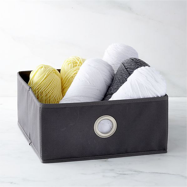 Grey Small Storage Bin with Grommet