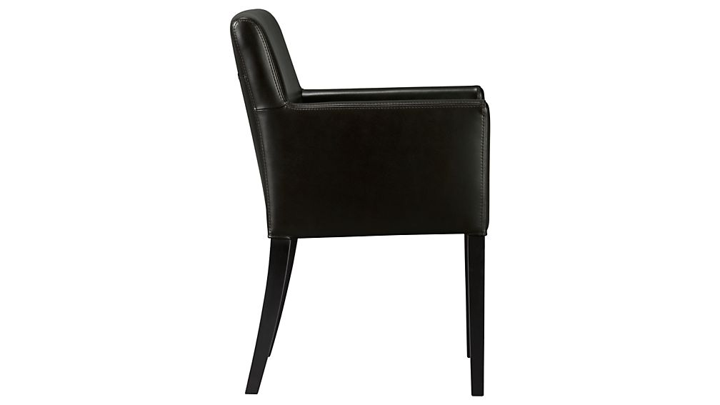 Lowe Onyx Leather Dining Arm Chair